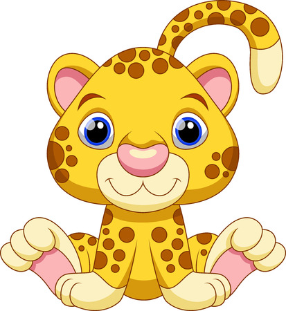 Cute baby cheetah cartoon Vector
