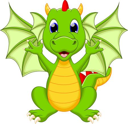dragon rouge: Bande dessin�e dr�le de dragon Illustration