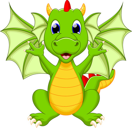 cute graphic: Funny dragon cartoon Illustration