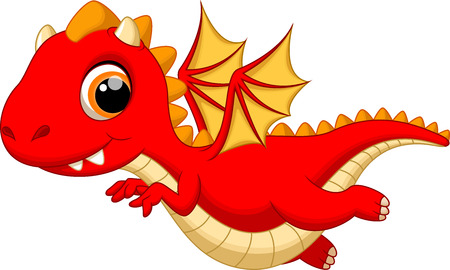young animal: Cute baby dragon flying cartoon