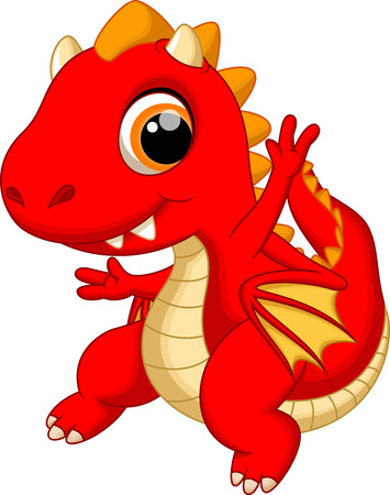 Cute baby dragon cartoon Vettoriali