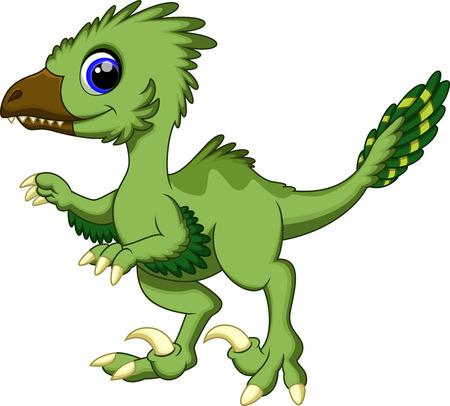Cute deinonychus cartoon  Vector