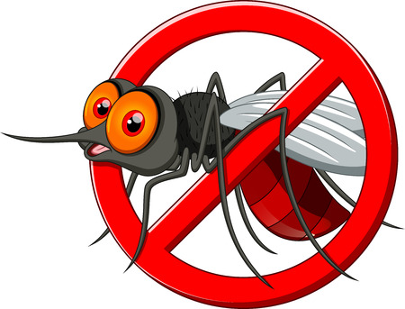 Stop mosquito cartoon Stock Illustratie