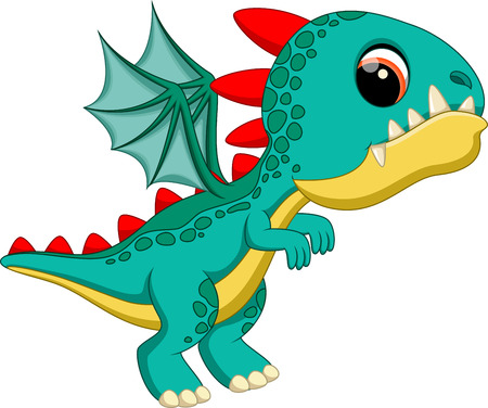 mythical: Cute baby dragon cartoon