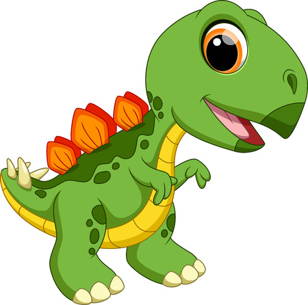 Cute baby stegosaurus cartoon