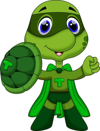 Cute super turtle cartoon  Ilustrace