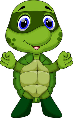 tortuga caricatura: Cute dibujos animados súper tortuga