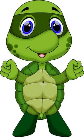 green sea turtle: Cute super turtle cartoon  Illustration