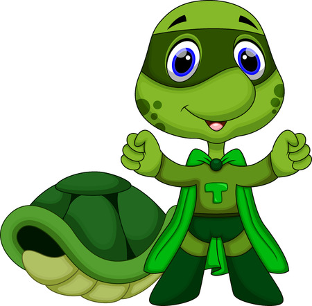 Cute super turtle cartoon  Vector
