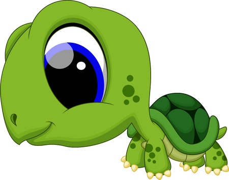 Cute baby turtle cartoon Vector