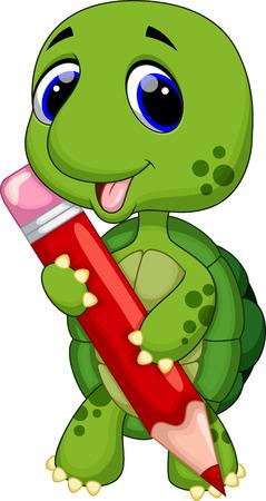 Cute turtle with color pencil  Vector