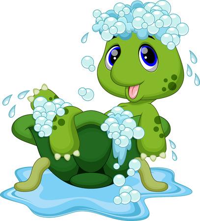 tortuga: Baño lindo de la tortuga en el caparazón Vectores