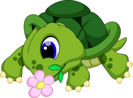 Cute turtle biting a flower
