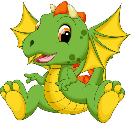 Cute baby dragon cartoon Ilustracja