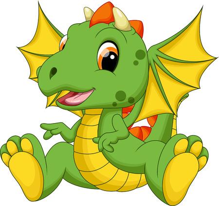 Cute baby dragon cartoon Stock Illustratie