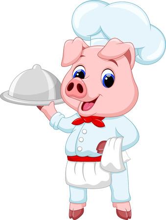 young pig: Cute chef pig cartoon