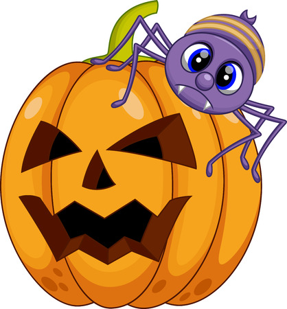squash bug: pumpkin and spider cartoon Illustration