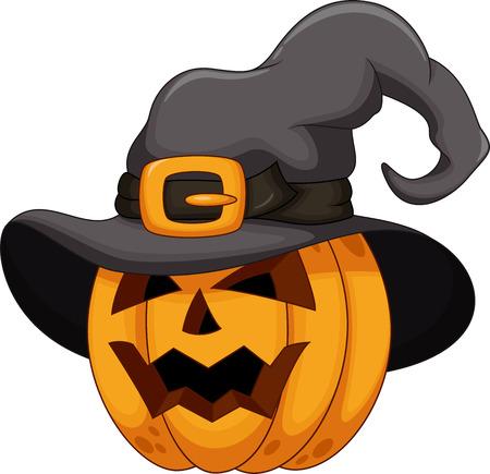 calabaza caricatura: Calabaza de la historieta que lleva un sombrero de bruja Vectores