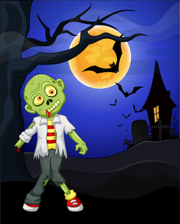 Funny cartoon zombie and bat with full moon background Vector