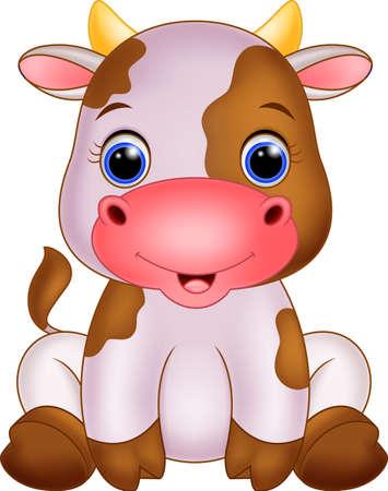 cow bells: Cute baby caw cartoon Illustration