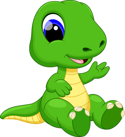 Cute baby dinosaur cartoon 向量圖像