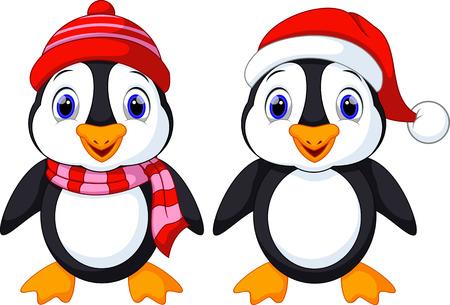 cold cartoon: Cute penguins cartoon