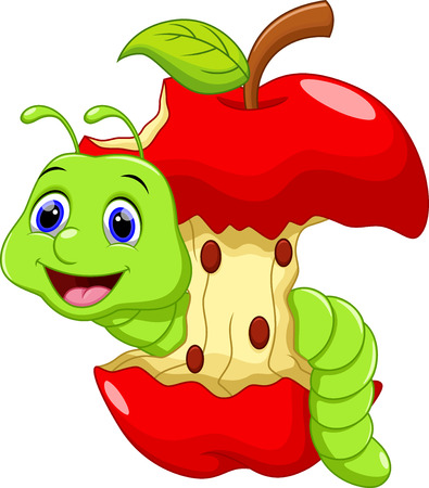 Funny cartoon worm in the apple