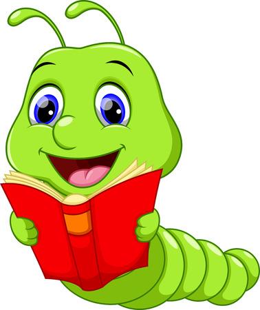 Cute Worm Reading a Book Vettoriali