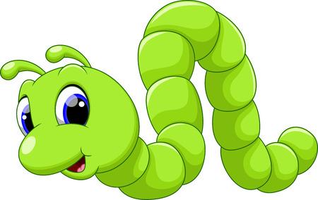 gusano caricatura: Dibujos animados oruga linda Vectores