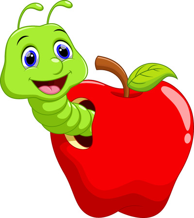 oruga: Gusano divertido de la historieta en la manzana