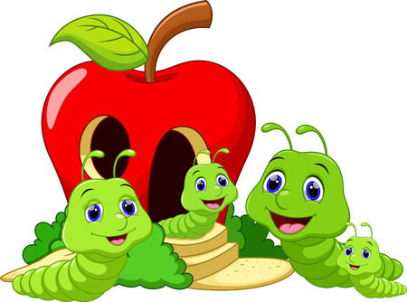 gusano caricatura: Gusano de dibujos animados lindo de la familia Vectores