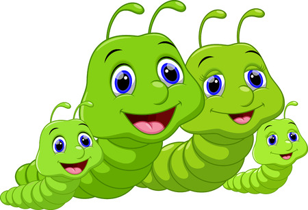 cartoon larva: Cute family worm cartoon