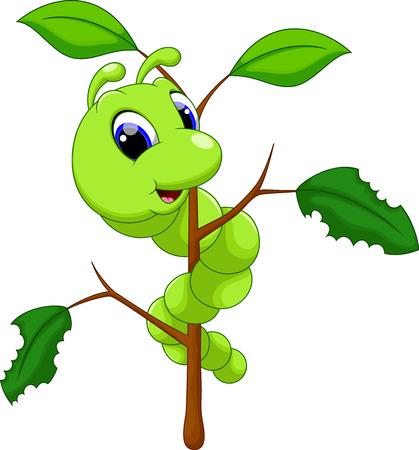 Funny caterpillar runs on a tree branch Stock Illustratie