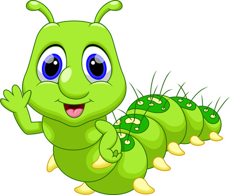 Cute caterpillar cartoon Vectores