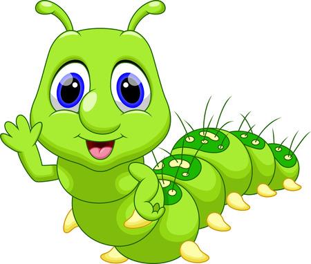 gusanos: Dibujos animados oruga linda Vectores