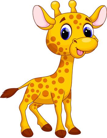 giraffe cartoon: Linda jirafa de dibujos animados Vectores