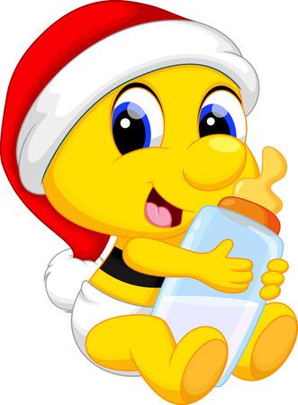 abeja linda bebé con un biberón de leche