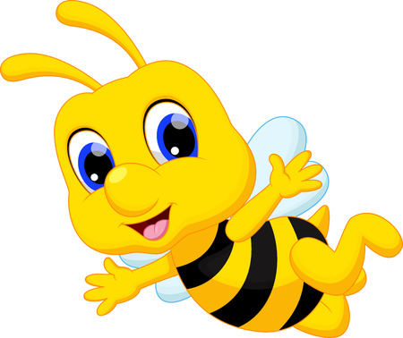 abeja caricatura: Linda abeja de la historieta Vectores