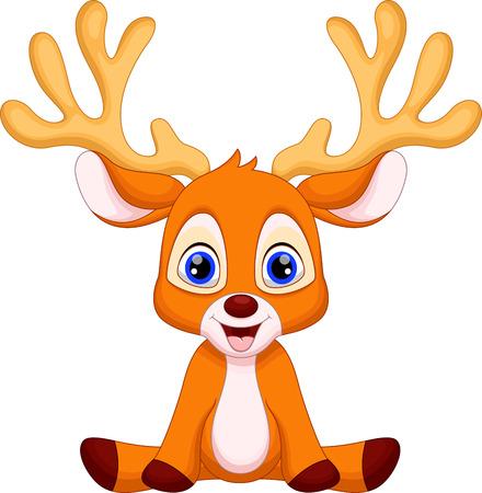 귀여운 아기 사슴 만화 앉아