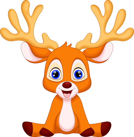 Cute baby deer cartoon sitting