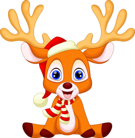 Cute baby deer sitting with christmas red hat Фото со стока - 33888176