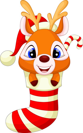 Cute baby deer in the socks with christmas red hat Vector
