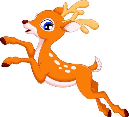 Cute deer cartoon jumping Vector