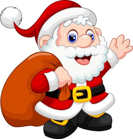 Cute Santa Claus cartoon waving and carrying christmas gift Vector