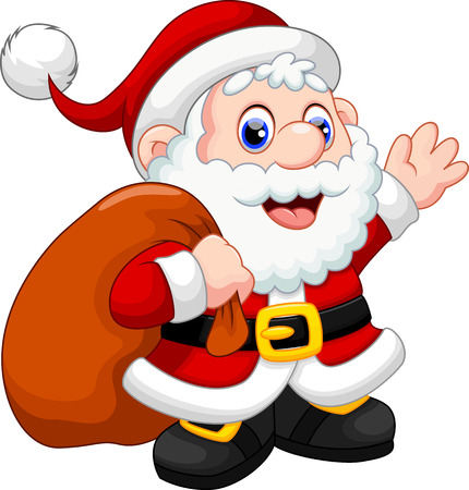 Cute Santa Claus cartoon waving and carrying christmas gift