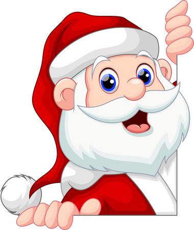 Santa Claus peeking behind a wall smiling 일러스트