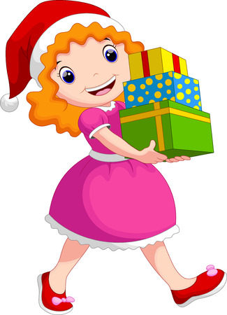 merry chrismas: A girl wearing a christmas hat holding a stack of gift