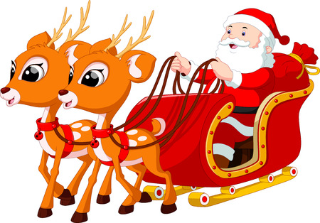 christmas elk: Santa Claus riding a sleigh pulled by reindeer Illustration