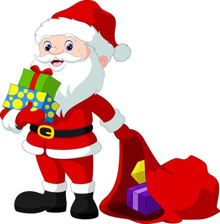 Santa Claus cartoon and hristmas gift