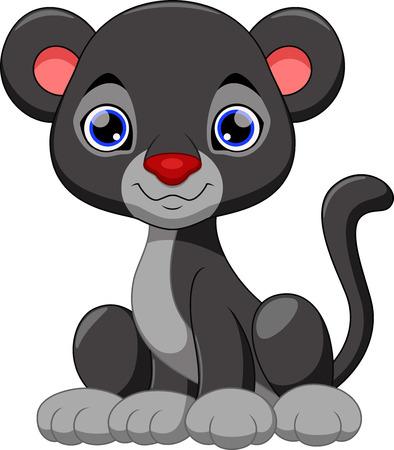 Cute black panther cartoon Vector